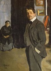 Léon BAKST. Portrait of Sergei Diaghilev with His Nanny. 1906