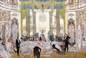 "Alexander GOLOVIN. Set design for the eBall Scene (Scene 8) in ""Masquerade"" by Mikhail Lermontov. Alexandrinsky Theatre, Petrograd, premiered February 25 1917"