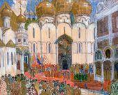 Alexander GOLOVIN. Set design for a Square in the Kremlin in 'Boris Godunov', opera by Modest Mussorgsky. 'Ballets Russes', Paris, 1908