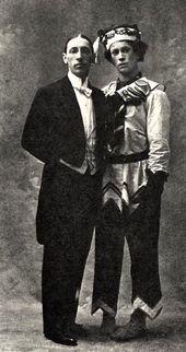 Igor Stravinsky and Vaslav Nijinsky as Petrushka. 1911