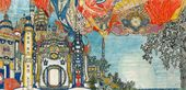 "Alexander GOLOVIN. Set design for the Porcelain Palace of the Emperor of China, Act II, ""The Nghtingale"". 1918"