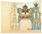 "Alexander GOLOVIN. Set design (development version) for ""The Nightingale"", opera by Igor Stravinsky. Mariinsky Theatre, Petrograd, premiered May 30 1918"