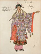 "Alexander GOLOVIN. Costume design for the Fisherman (singing), ""The Nightingale"". 1918"