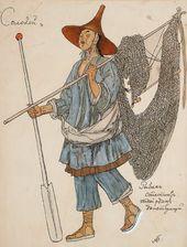 "Alexander GOLOVIN. Costume design for the Fisherman (non-singing), ""The Nightingale"". 1918"