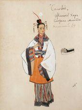 "Alexander GOLOVIN. Costume design for Women's Chorus (sopranos and altos), ""The Nightingale"". 1918"