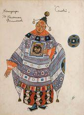 "Alexander GOLOVIN. Costume design for the Chamberlain, ""The Nightingale"". 1918"