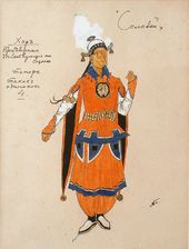"""Alexander GOLOVIN. Costume design for the Courtiers (tenors), """"The Nightingale"""". 1918"""