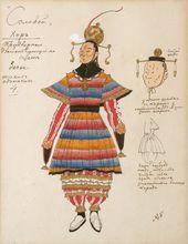 "Alexander GOLOVIN. Costume design for Men's Chorus (basses), ""The Nightingale"". 1918"