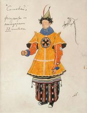 "Alexander GOLOVIN. Costume design for Extras with Accessories, ""The Nightingale"". 1918"