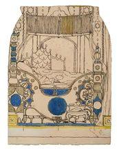 "Alexander GOLOVIN. Set design for the Emperor's Bedroom, detail, Act III, ""The Nightingale"". 1918"