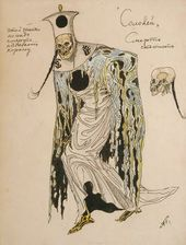 "Alexander GOLOVIN. Costume design for Death (non-singing), ""The Nightingale"". 1918"