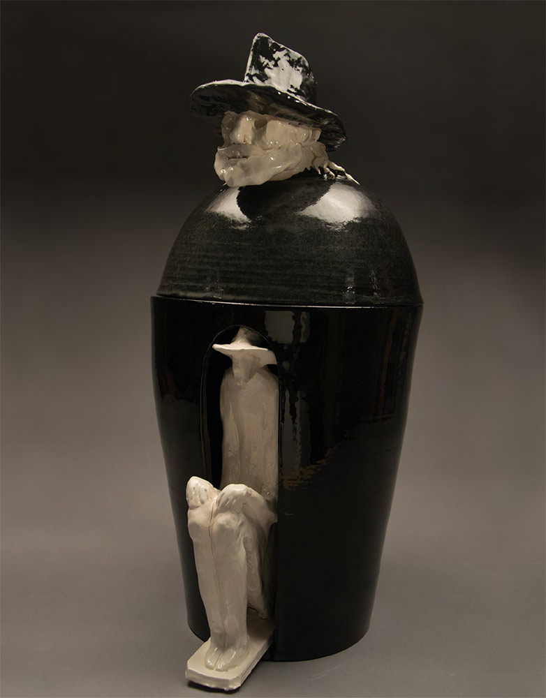 Andrea GRANCHI. Vase-canopa with the author's effigy on the lid, with white animula. 2018