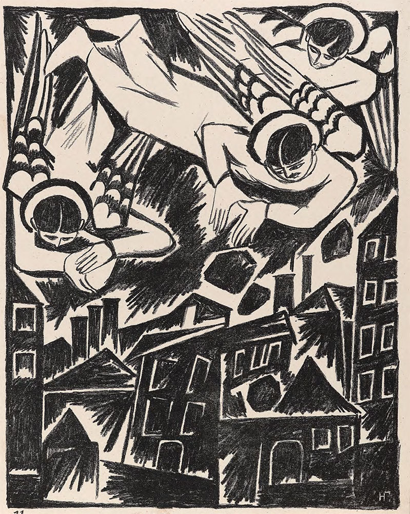 "Natalia GONCHAROVA. Doomed City. 1914. Sheet from the album ""Mystical Images of War"""