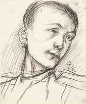 Kuzma PETROV-VODKIN. Head of a Young Man in Military Uniform. 1915 1915