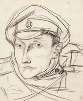 Kuzma PETROV-VODKIN. Head of a Soldier in a Cap. 1915