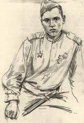 """Viktor TSIGAL. Sergeant of the Guard N. Sviridov. From the """"Wartime Sketches"""" series, the wartime album. 1943–1945"""