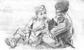 """Viktor TSIGAL. Three Friends. From the """"Wartime Sketches"""" series, the wartime album. 1943–1945"""
