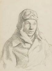Boris PROROKOV. Portrait of the Pilot Lvov. Fighter Aviation Regiment. Novaya Ladoga. 1942