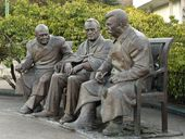 """Zurab TSERETELI. Memorial """"The Big Three"""" (from right: Joseph Stalin, Franklin D. Roosevelt, Winston Churchill). 2015"""