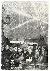 """Alexei PAKHOMOV. Fireworks. January 27 1944. From the series """"Leningrad in the Years of the Siege"""". 1944"""