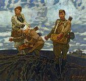 Marat SAMSONOV. Spring 1945. Soldiers Sowing Seed. 1992