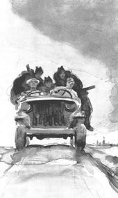 """Viktor TSIGAL. On the Road to the Front. From the series """"Drawings of the War Years"""", from the wartime album. 1943–1945"""