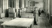 Crates with paintings of the Tretyakov Gallery at the Novosibirsk Opera House. Photograph, 1944