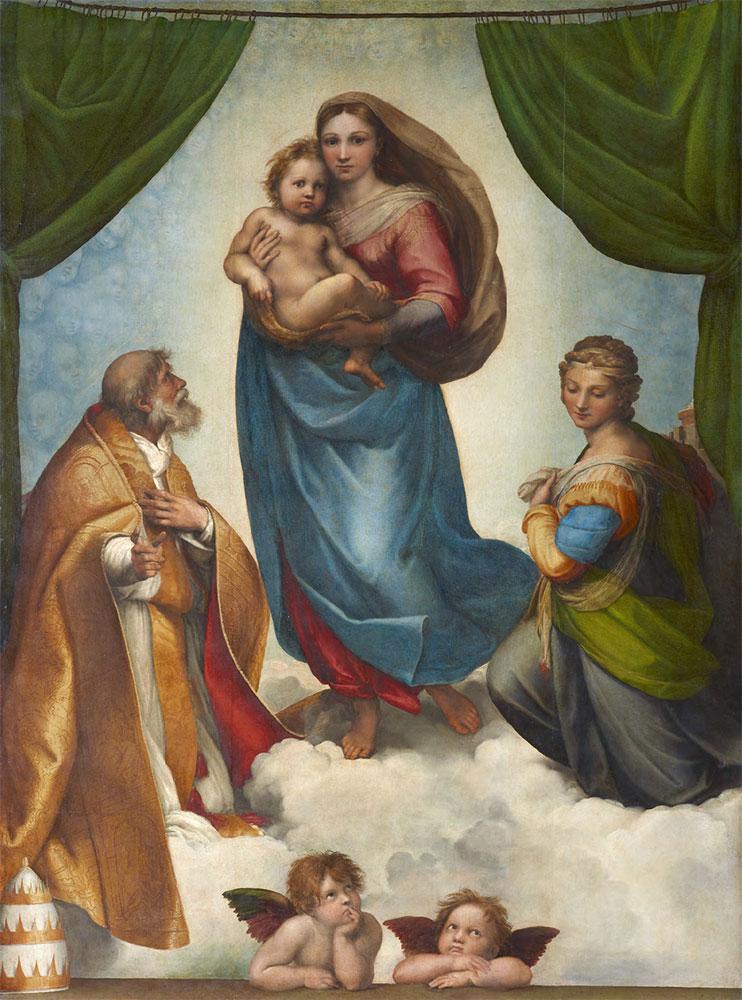 RAPHAEL (Raffaello Sanzio da Urbino). The Sistine Madonna. 1512–1513