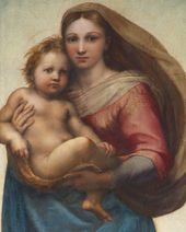 RAPHAEL (Raffaello Sanzio da Urbino). The Sistine Madonna. 1512–1513. Detail