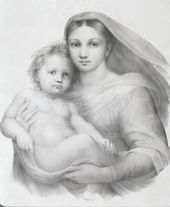 Madonna with Child. Lithograph from Raphael's Sistine Madonna. Mid-19th century. Detail