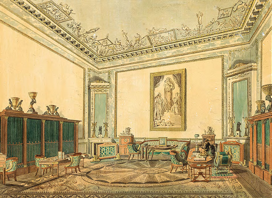Varvara GOLOVINA. The Study-library of Empress Elizabeth Alexeievna in the Winter Palace. 1810–1826