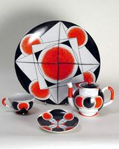Design of a traktir (tavern) tea set by Aleksandr Rodchenko. Commissioned by the Ceramic Department of the VKHUTEMAS in 1922