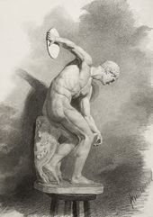 "ANTONOV, Stroganov graduate. Drawing of a plaster figure ""Discobolus"" (by Myron, mid-5th century BC). Late 19th - early 20th century"