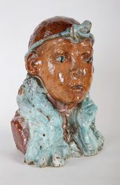 Mikhail VRUBEL. An Egyptian Female Head. Abramtsevo ceramic and art pottery workshop. c. 1900
