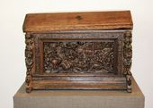 Wooden chest decorated with a carved scene depicting the Conversion of St. Paul Germany. 16th - early 17th century