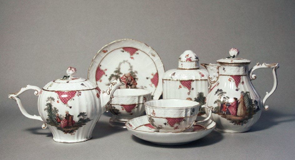 Tea service with fête galante paintings. Meissen porcelain factory. Mid 18th century