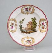 Plate with painted landscape and flower motifs. St. Petersburg, Russia. Imperial Porcelain Factory. 1796-1801