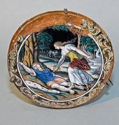 Painted saucer featuring the 'Suicide of Pyramus and Thisbē'. Artist Jacques I Laudin. Limoge, France. 1603-1629