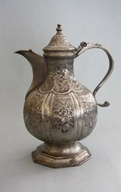 "Jug decorated with Rocaille patterns, stamped ""ИМФ 1762 г. Сибирь"" [Siberia]"
