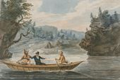 Pavel SVININ. Two Indians and a White Man in a Canoe. 1811-c. 1813