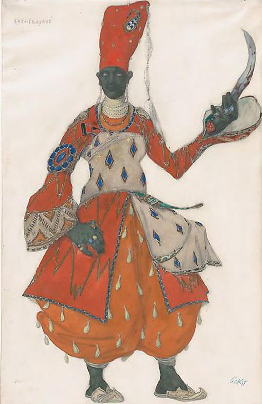 Léon BAKST. Costume Design for a Eunuch in Scheherazade. c. 1910