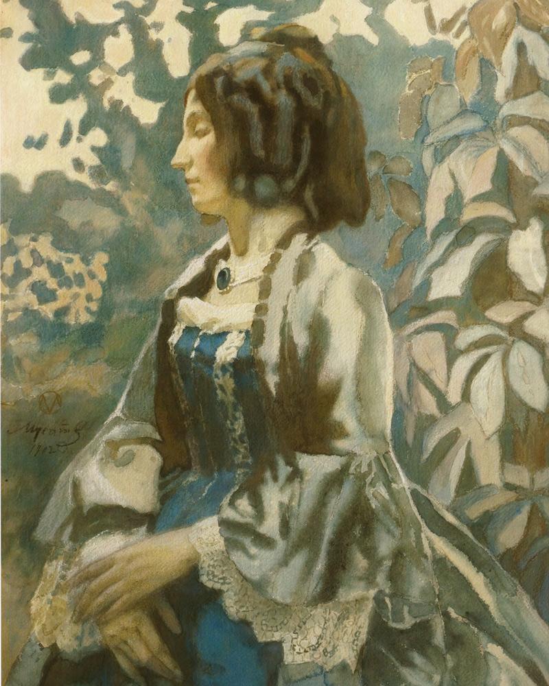 Viktor BORISOV-MUSATOV. Lady in blue. 1902