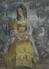 Viktor BORISOV-MUSATOV. Lady by the Tapestry. Portrait of Nadezhda Stanyukovich. 1903