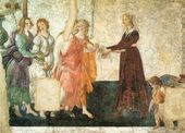 Sandro BOTTICELLI. Venus and the Three Graces Presenting Gifts to a Young Woman. Florence. 1483/1485
