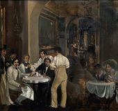 A painting featuring Nikolai Gogol inside the Caffè Greco
