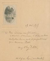 Open letter of Auguste and Eugène Delâtre with greetings to Maria and Leon Weber on the birth of their son November 18, 1898