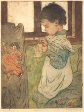 Yelizaveta KRUGLIKOVA. Tanechka at Work. 1903