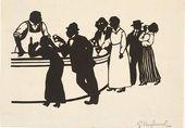 Е.С. КРУГЛИКОВА. В баре (А.Yelizaveta KRUGLIKOVA. In the Bar (Alexei Tolstoy, Maximilian Voloshin and Yelizaveta Kruglikova in a male costume with their dancing partners) Silhouette. 1914