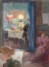 Maria YAKUNCHIKOVA. Interior with a Lamp. 1890