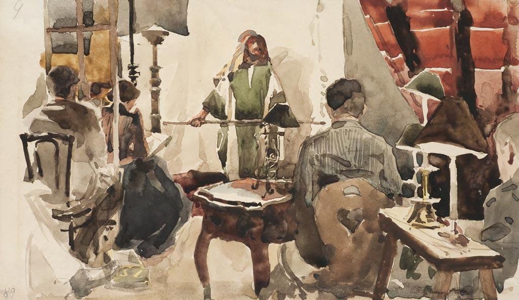Yelena POLENOVA. Artists at the painting gathering at Vasily Polenov's house. 1889